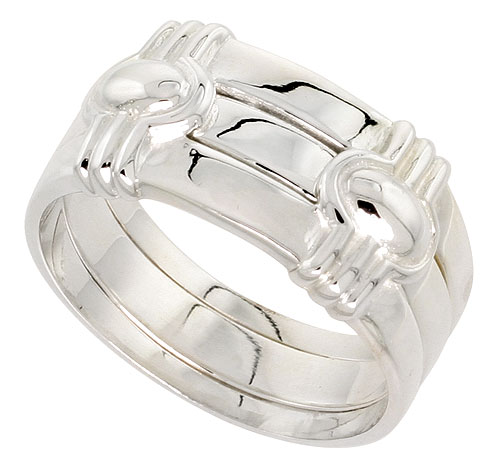 Sterling Silver Art Deco Ring Guard Flawless finish 1/2 inch wide, sizes 6 - 10