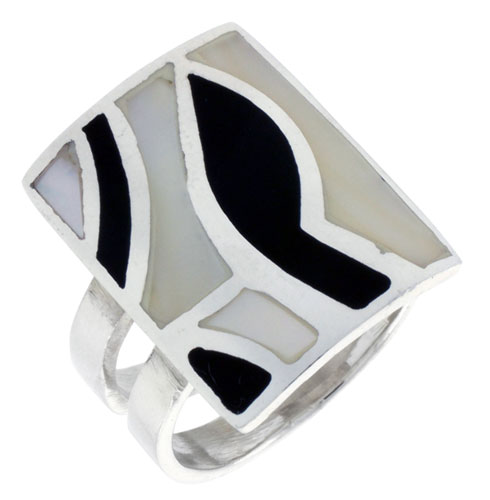 """Sterling Silver Rectangular Shell Ring, w/Black & White Mother of Pearl Inlay, 15/16"""" (24 mm) wide"""