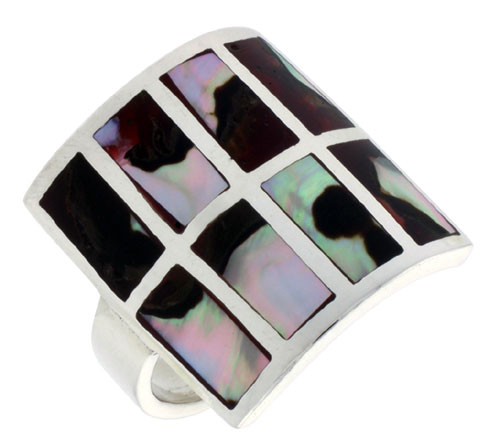 """Sterling Silver Square-shaped Shell Ring, w/Colorful Mother of Pearl Inlay, 7/8"""" (22 mm) wide"""