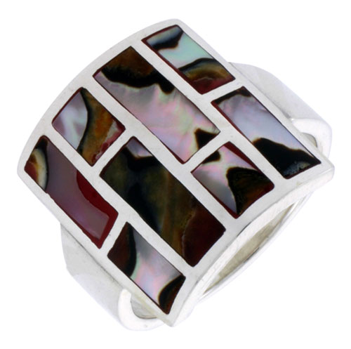 """Sterling Silver Square-shaped Shell Ring, w/Brown & White Mother of Pearl Inlay, 13/16"""" (21 mm) wide"""