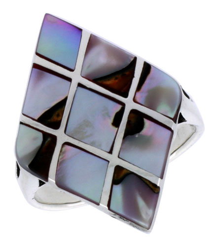 """Sterling Silver Diamond-shaped Shell Ring, w/Colorful Mother of Pearl Inlay, 1 1/8"""" (29 mm) wide"""