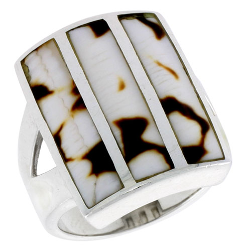 """Sterling Silver Striped Rectangular Shell Ring, w/Brown & White Mother of Pearl Inlay, 7/8"""" (23 mm) wide"""