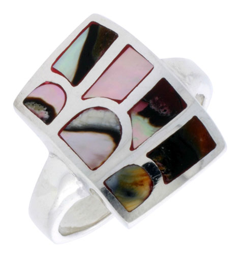 """Sterling Silver Striped Rectangular Shell Ring, w/Colorful Mother of Pearl Inlay, 13/16"""" (21 mm) wide"""