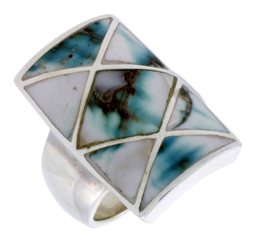 """Sterling Silver Crisscross Rectangular Shell Ring, w/Black & White Mother of Pearl Inlay, 15/16"""" (24 mm) wide"""