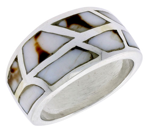 """Sterling Silver Freeform Dome Shell Ring, w/Black & White Mother of Pearl Inlay, 1/2"""" (13 mm) wide"""