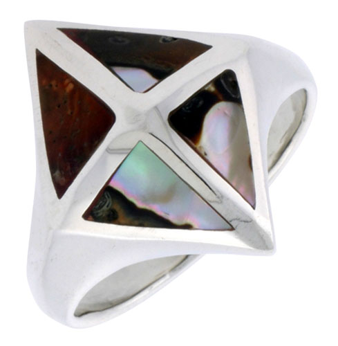 """Sterling Silver Diamond-shaped Shell Ring, w/Brown & White Mother of Pearl Inlay, 7/8"""" (22 mm) wide"""