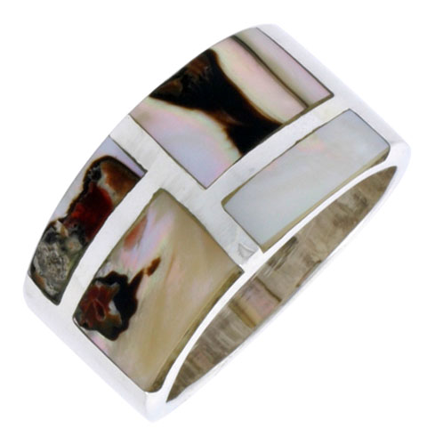 """Sterling Silver Flat Band, w/Brown & White Mother of Pearl Inlay, 1/2"""" (13 mm) wide"""