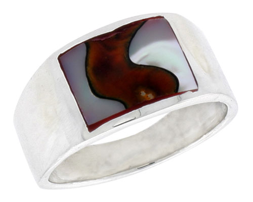 """Sterling Silver Flat Band, w/Colorful Mother of Pearl Inlay, 7/16"""" (11 mm) wide"""