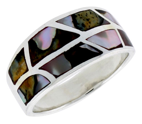 """Sterling Silver Flat Band, w/Brown & White Mother of Pearl Inlay, 1/2"""" (12 mm) wide"""