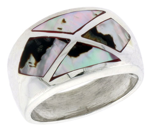 """Sterling Silver Dome Band, w/Colorful Mother of Pearl Inlay, 9/16"""" (14 mm) wide"""