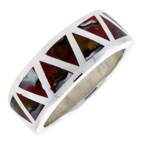 """Sterling Silver Triangular Pattern Flat Band, w/Colorful Mother of Pearl Inlay, 3/8"""" (10 mm) wide"""