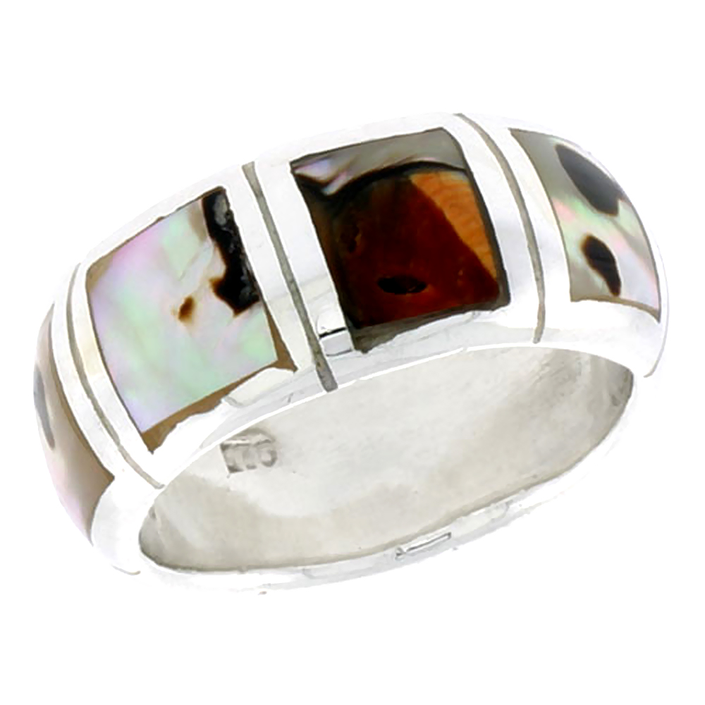 """Sterling Silver Dome Band, w/Colorful Mother of Pearl Inlay, 3/8"""" (10 mm) wide"""