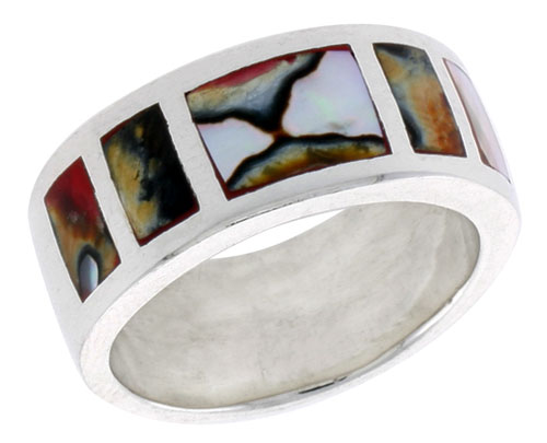 """Sterling Silver Square Pattern Flat Band, w/Colorful Mother of Pearl Inlay, 3/8"""" (10 mm) wide"""