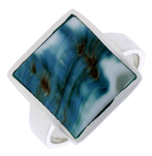 """Sterling Silver Square Shape Shell Ring, w/Blue-Green Mother of Pearl Inlay, 11/16"""" (17 mm) wide"""