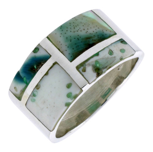 """Sterling Silver Rectangular Flat Band, w/Blue-Green Mother of Pearl Inlay, 1/2"""" (13 mm) wide"""