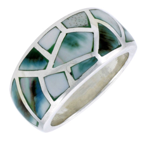 """Sterling Silver Dome Band, w/Blue-Green Mother of Pearl Inlay, 9/16"""" (14 mm) wide"""