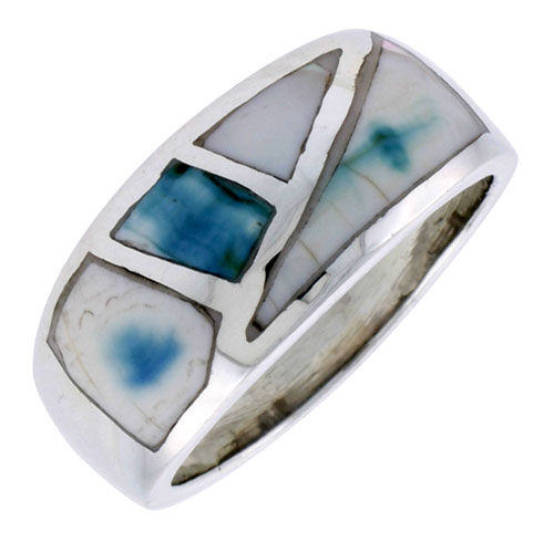 """Sterling Silver Fancy Band, w/Blue-Green Mother of Pearl Inlay, 7/16"""" (11 mm) wide"""