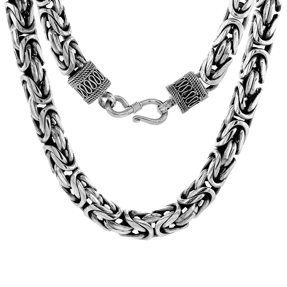 10mm Sterling Silver Round BYZANTINE Chain Necklaces & Bracelets 10mm Thick Antiqued Nickel Free, 8-30 inch