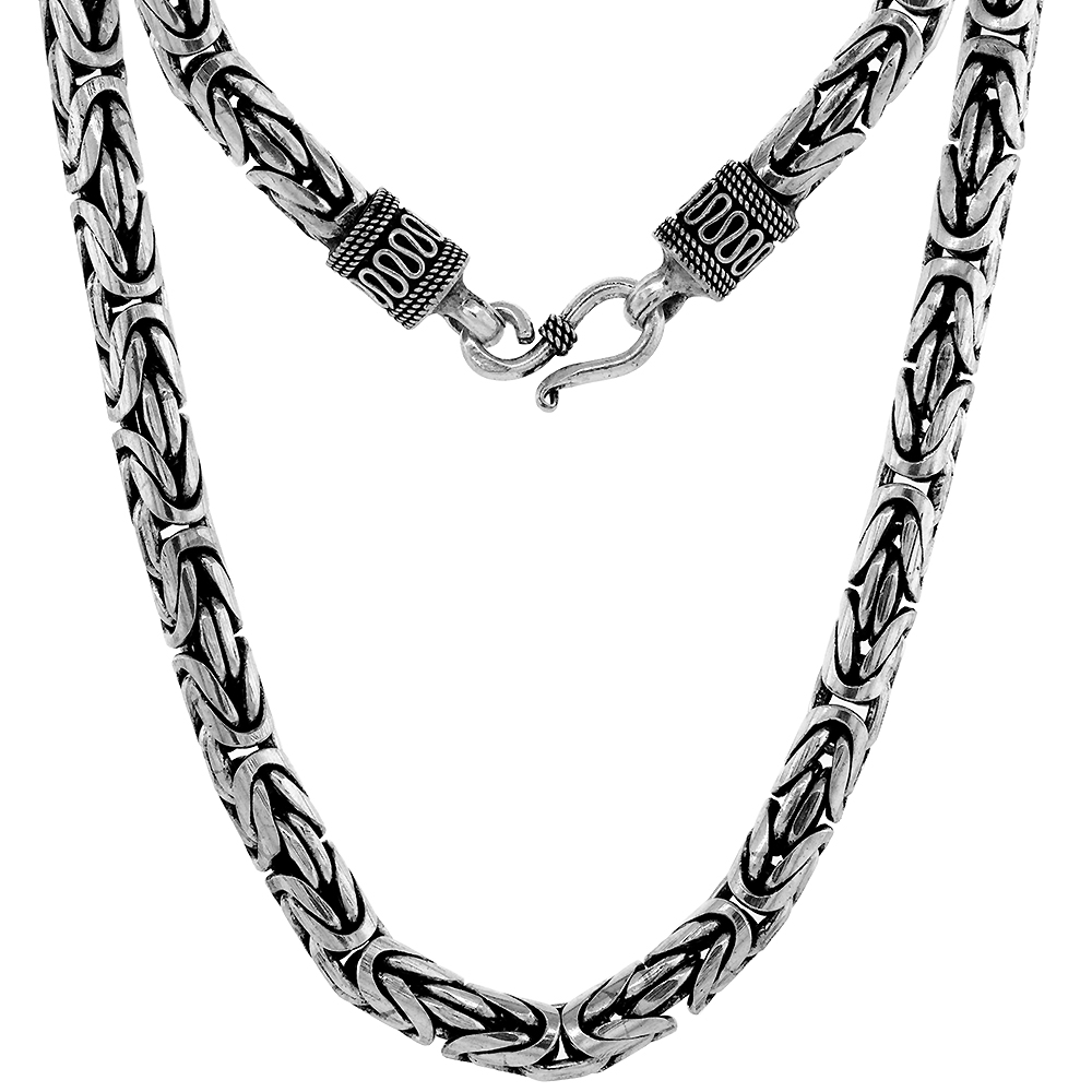 7mm Sterling Silver Round BYZANTINE Chain Necklaces & Bracelets 7mm Thick Antiqued Nickel Free, 7-30 inch