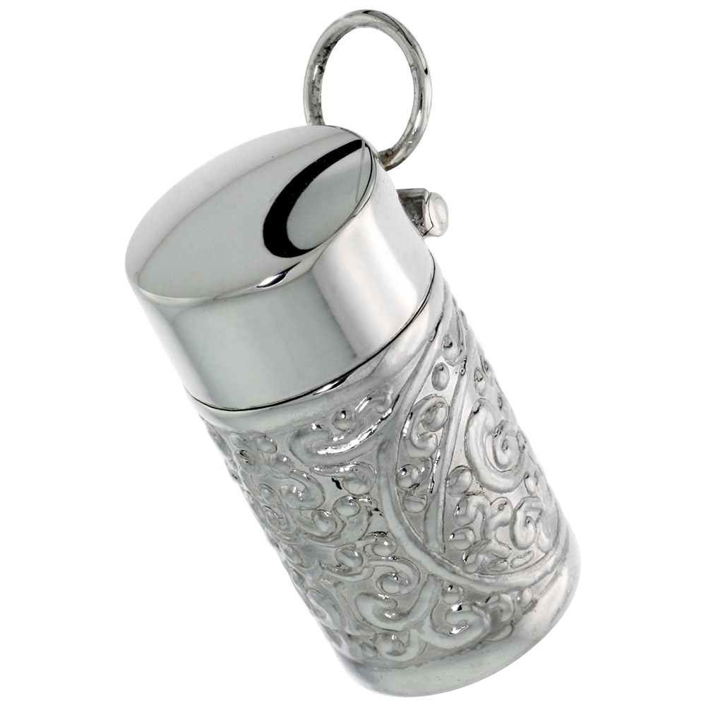 "Sterling Silver Urn Pendant, Ash Container, 1 3/16"" (31 mm) tall"