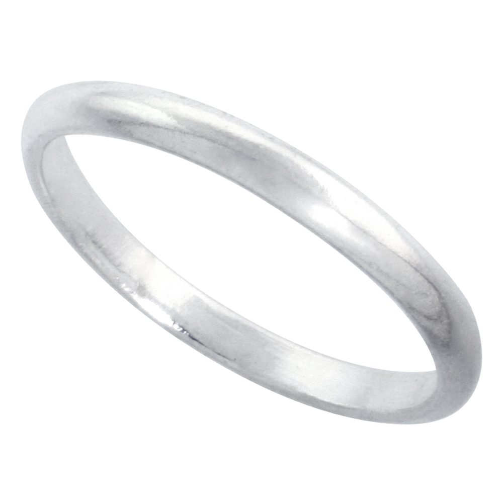 Sterling Silver 2 mm Thin High Dome Wedding Band Toe Ring Thumb Ring