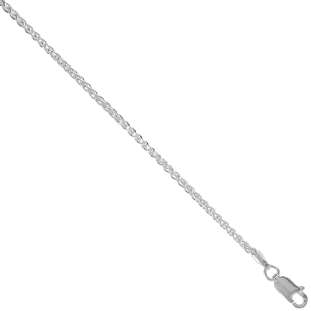 Sterling Silver Spiga Wheat Chain Anklet 1.9mm Nickel Free, Sizes 9 - 10 inch
