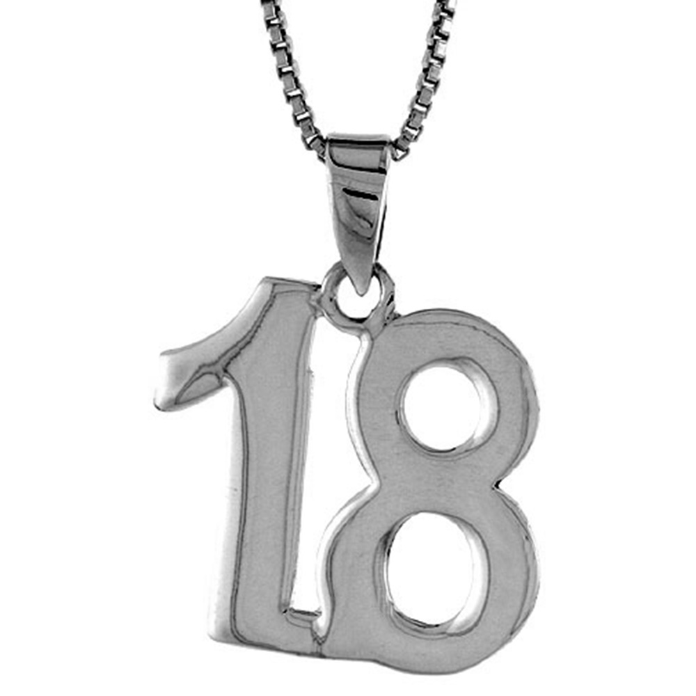 2mm Curb Chain Sterling Silver Number 32 Necklace for Jersey Numbers /& Recovery High Polish 3//4 inch