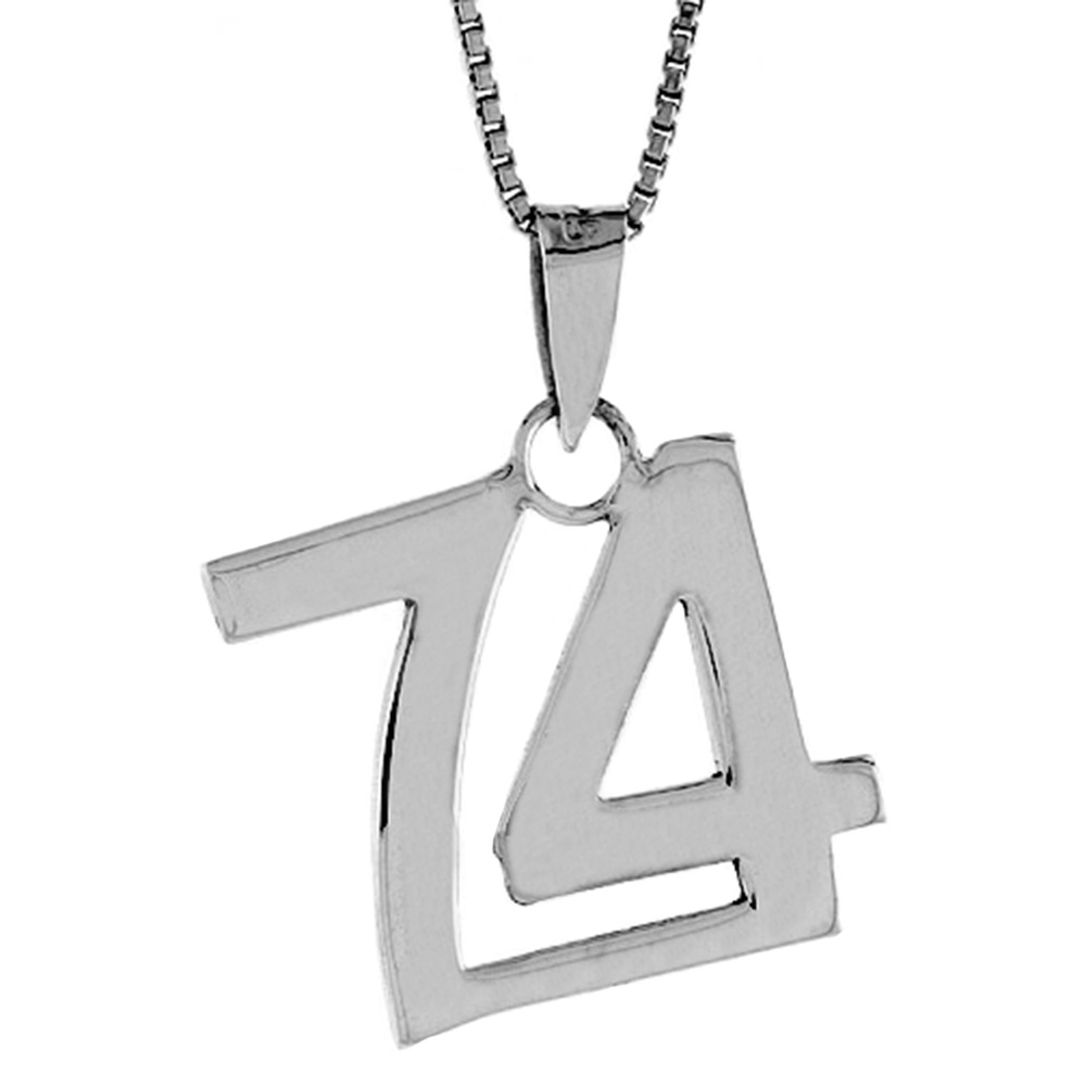 Sterling Silver Number 74 Pendant 3/4 inch