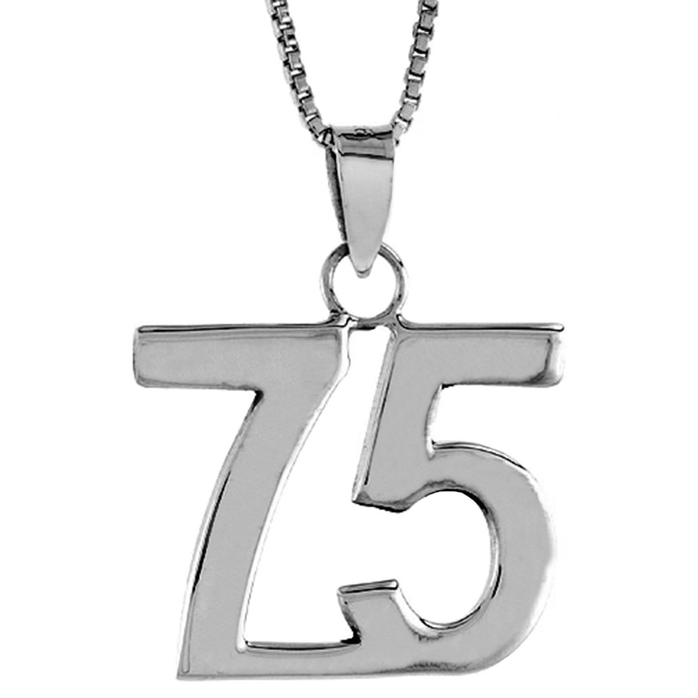 Sterling Silver Number 75 Pendant 3/4 inch