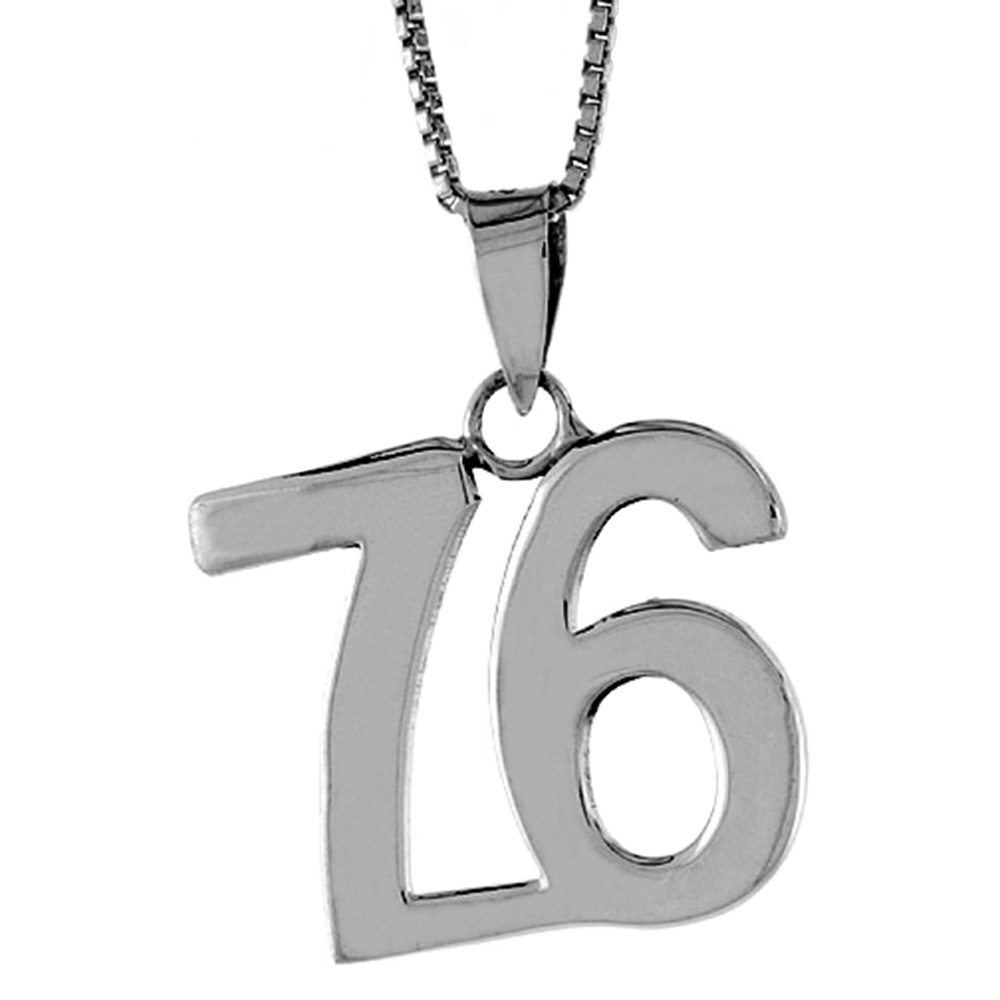 Sterling Silver Number 76 Pendant 3/4 inch