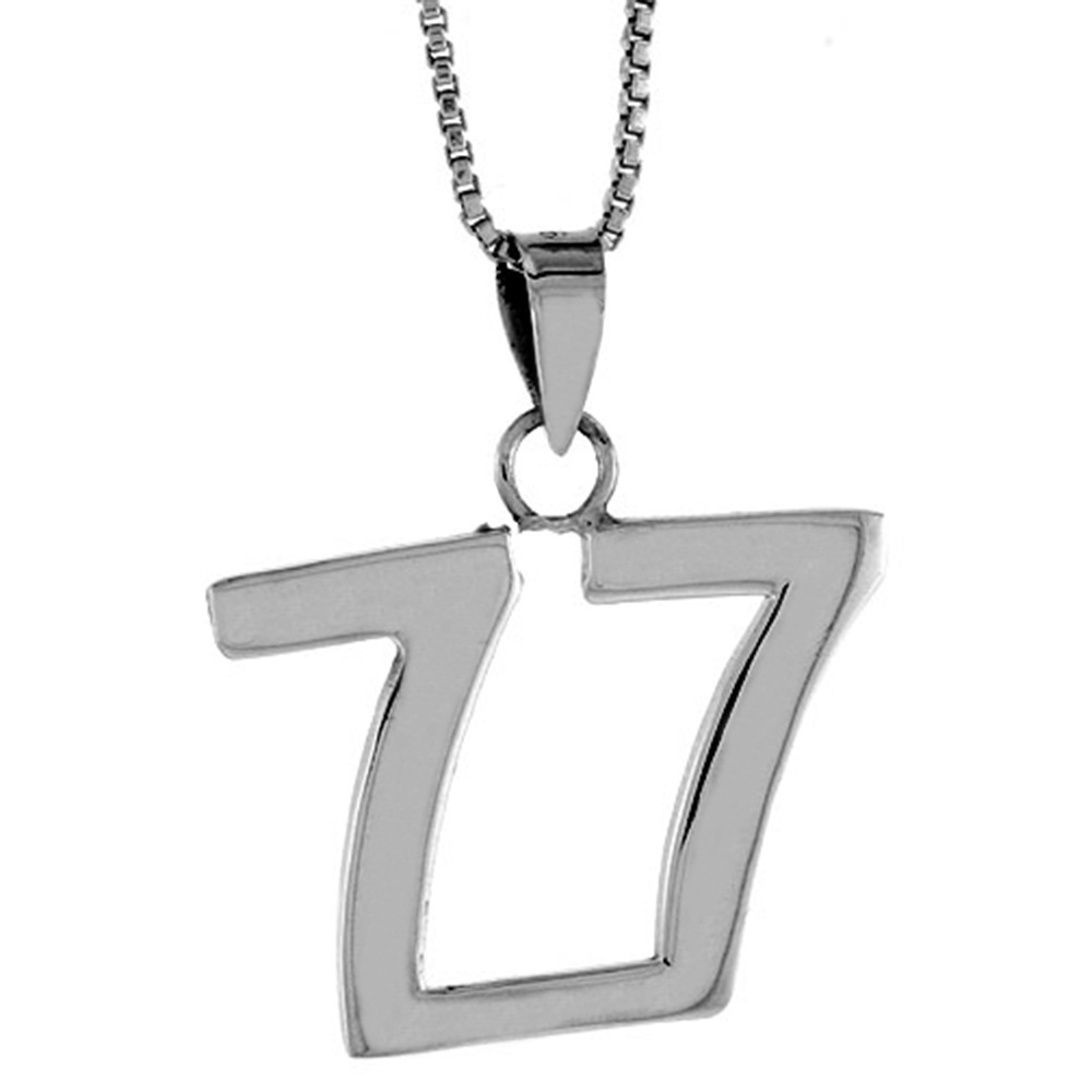 Sterling Silver Number 77 Pendant 3/4 inch