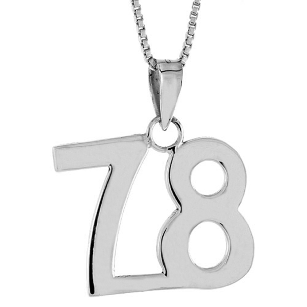 Sterling Silver Number 78 Pendant 3/4 inch