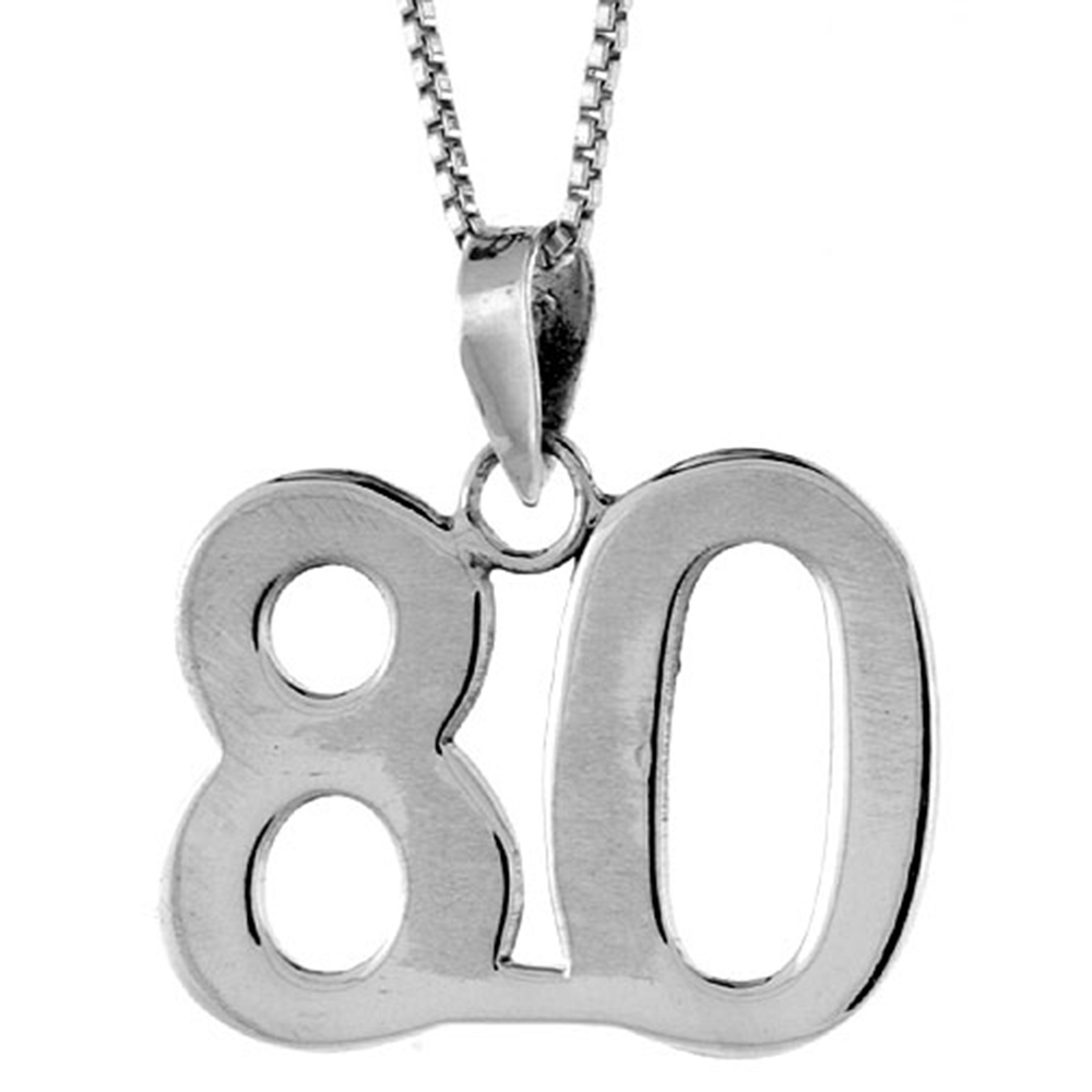 Sterling Silver Number 80 Pendant 3/4 inch