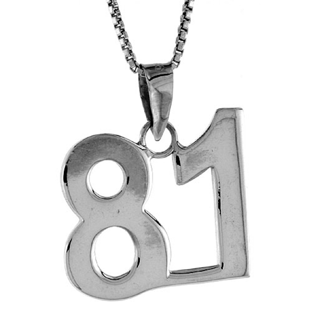 Sterling Silver Number 81 Pendant 3/4 inch
