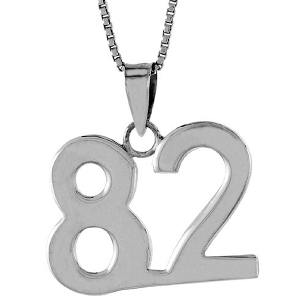 Sterling Silver Number 82 Pendant 3/4 inch