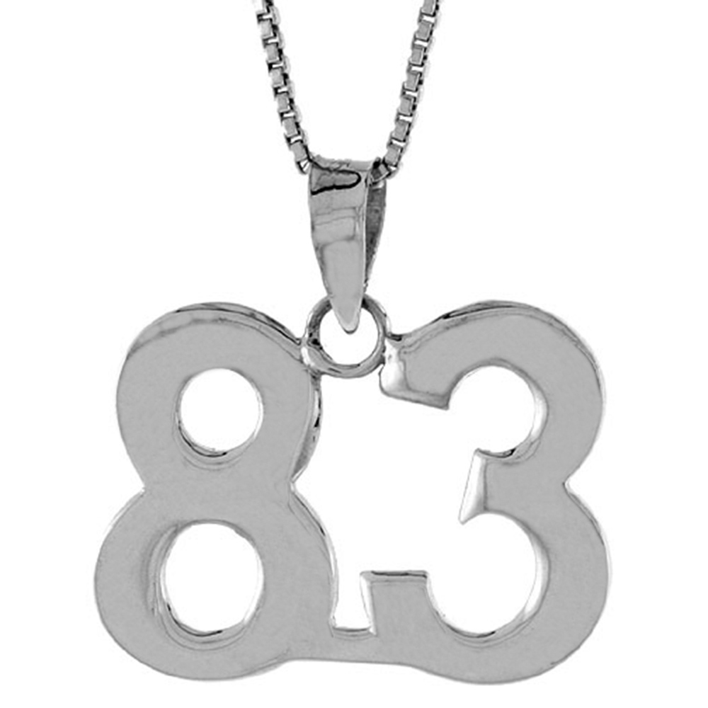 Sterling Silver Number 83 Pendant 3/4 inch