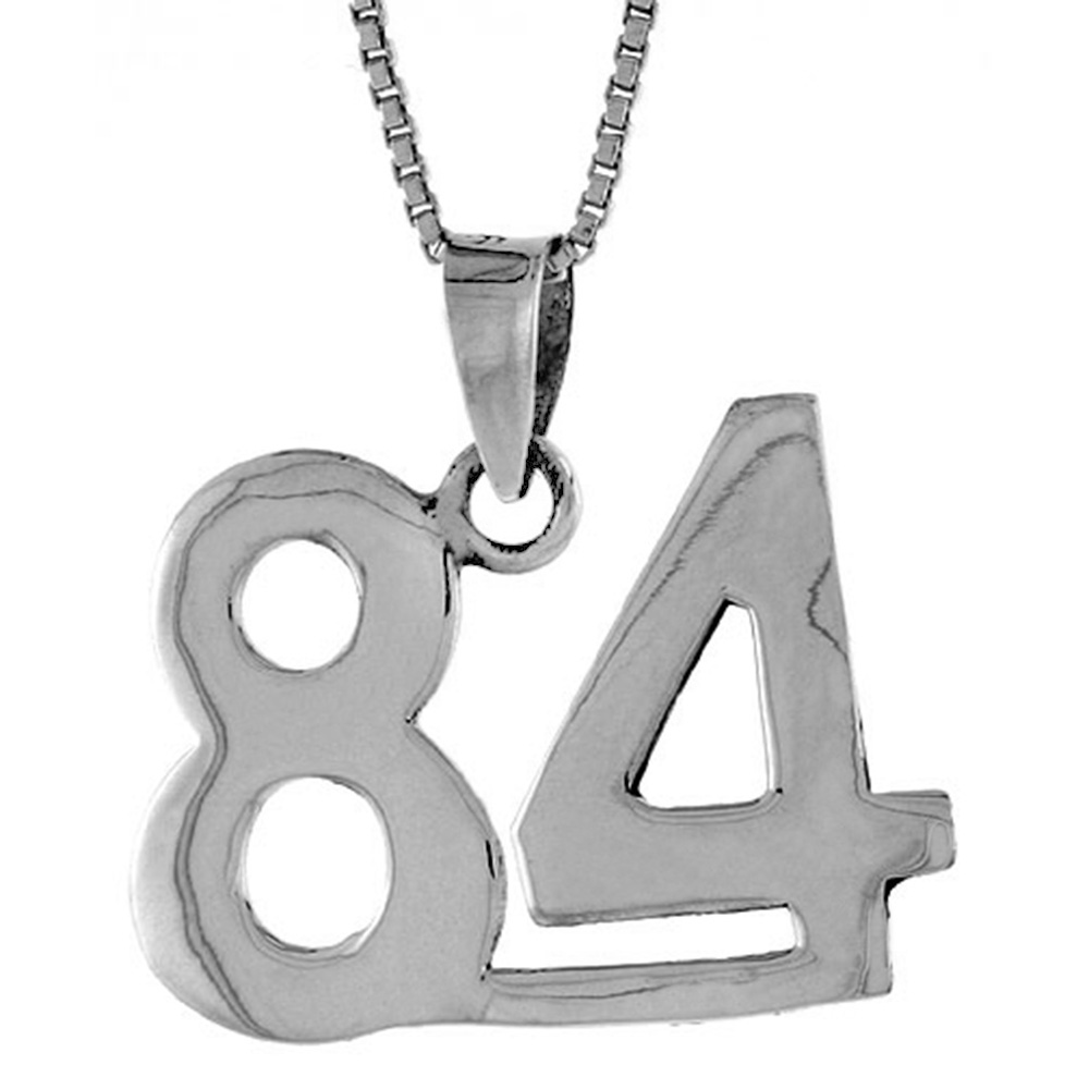 Sterling Silver Number 84 Pendant 3/4 inch