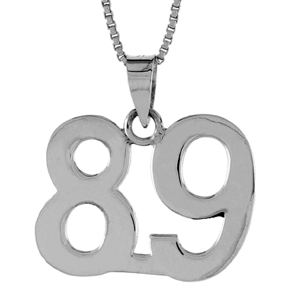 Sterling Silver Number 89 Pendant 3/4 inch