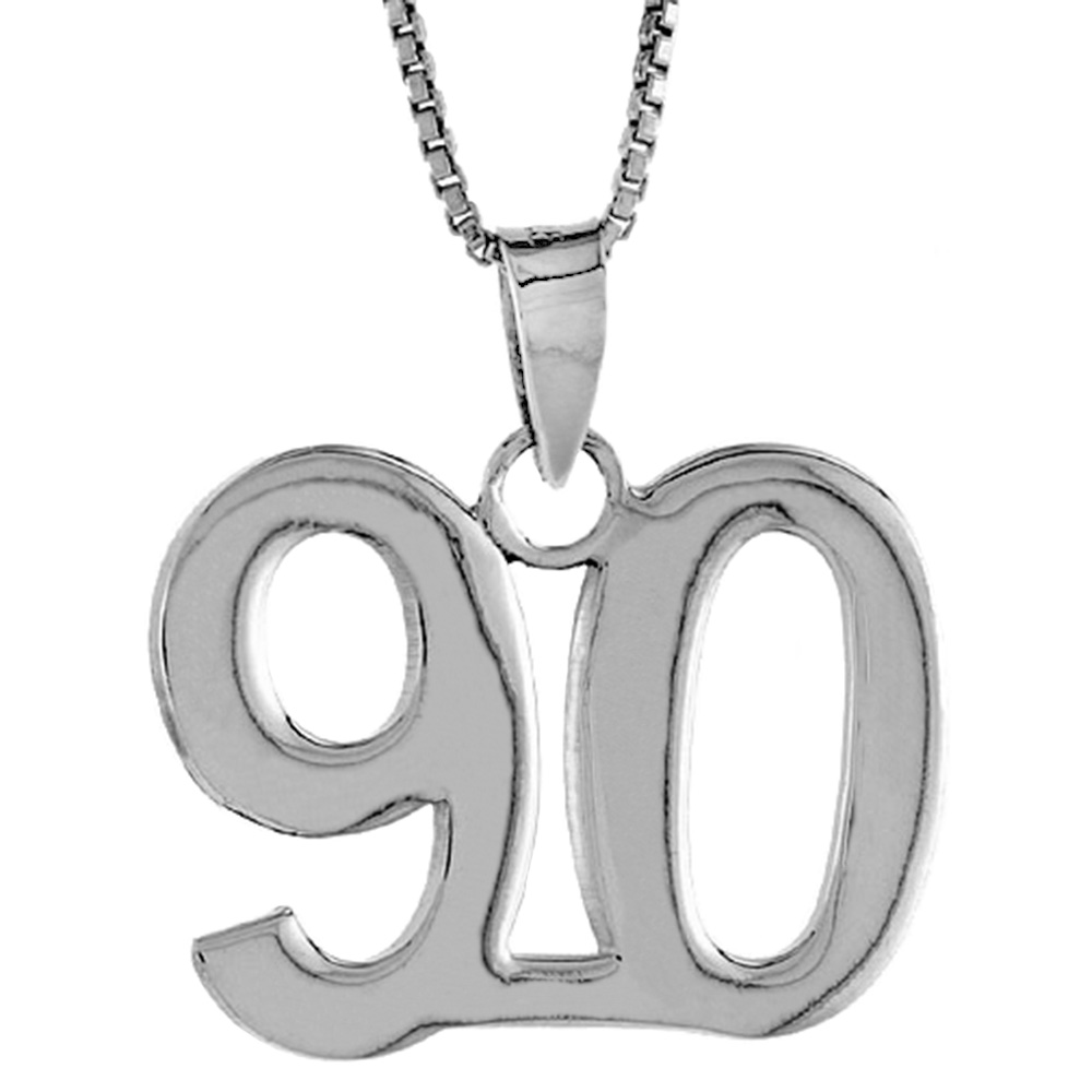 Sterling Silver Number 90 Pendant 3/4 inch