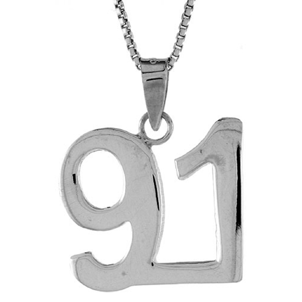 Sterling Silver Number 91 Pendant 3/4 inch