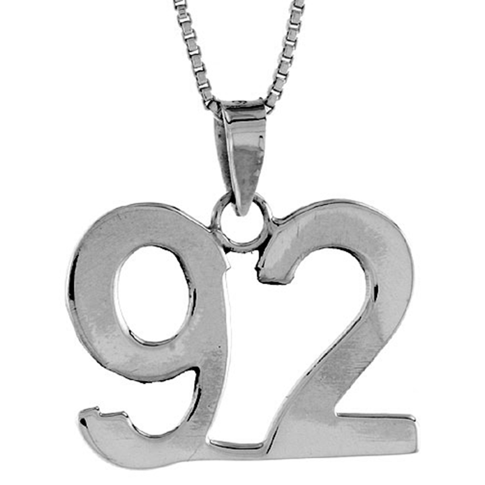 Sterling Silver Number 92 Pendant 3/4 inch