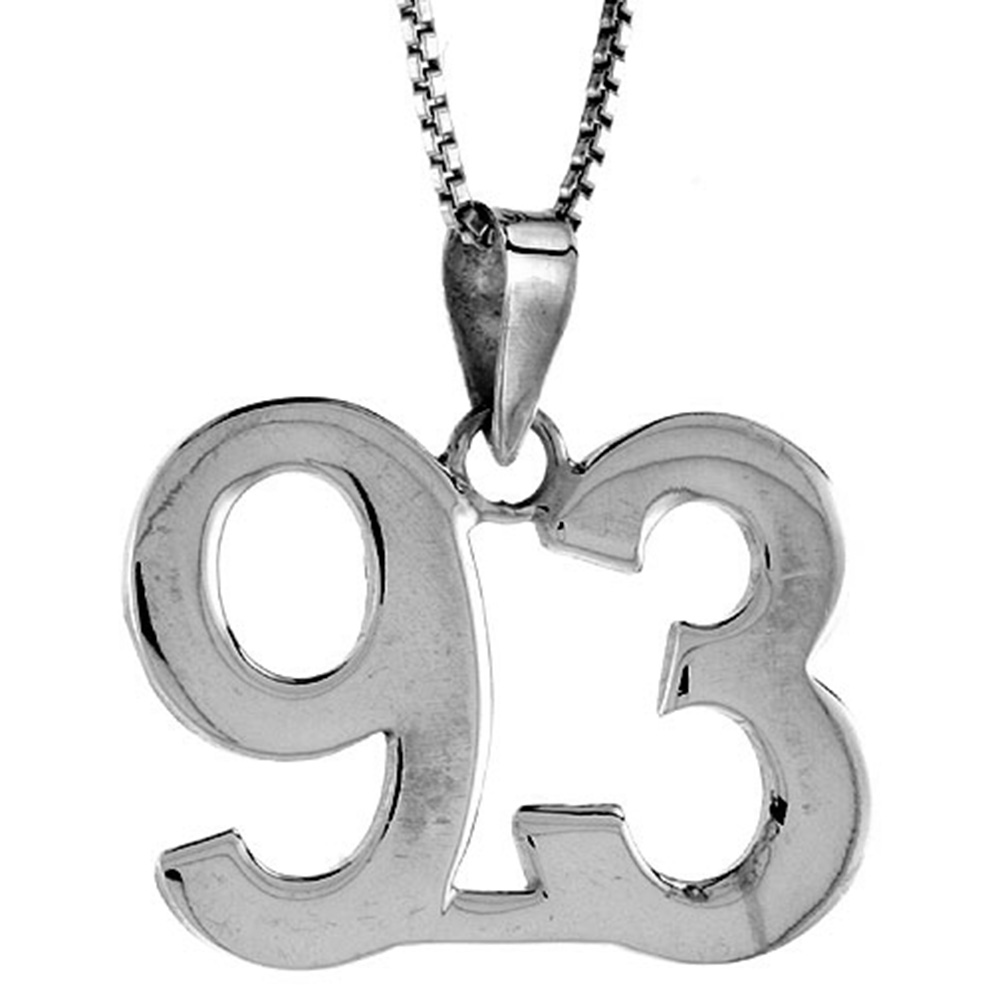 Sterling Silver Number 93 Pendant 3/4 inch