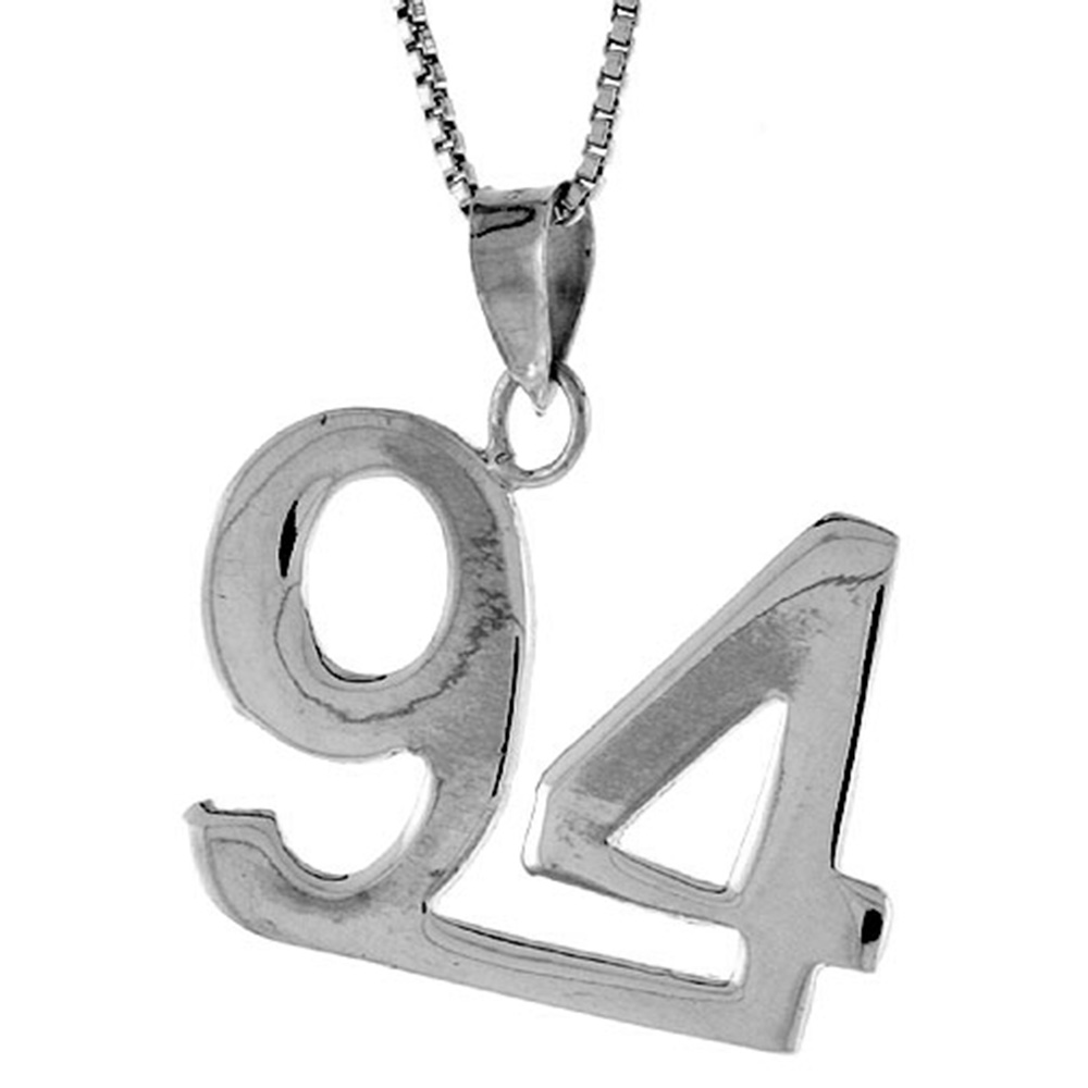 Sterling Silver Number 94 Pendant 3/4 inch