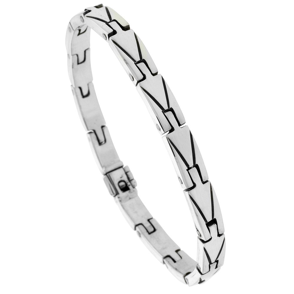Sterling Silver Gents Bar Link Bracelet Handmade 1/4 inch wide, sizes 7.5, 8, 8.5 inch