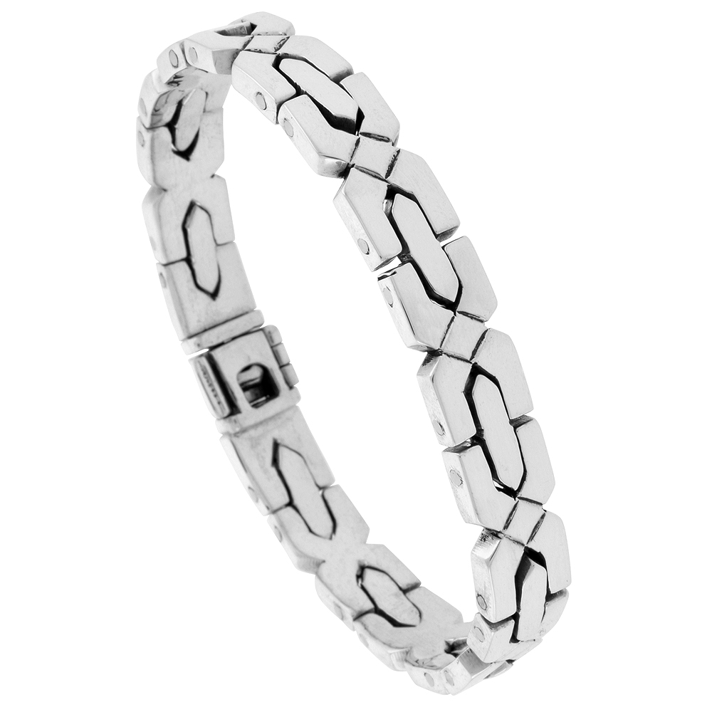 Sterling Silver Gents X Cross Link Bracelet Handmade 3/8 inch wide, sizes 7.5, 8, 8.5 inch