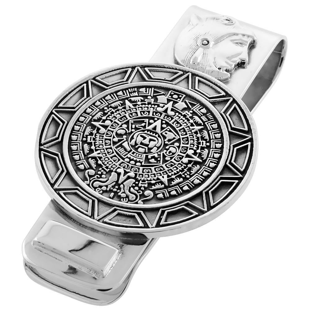 Sterling Silver Aztec Calendar Money Clip 2 1/4 inch