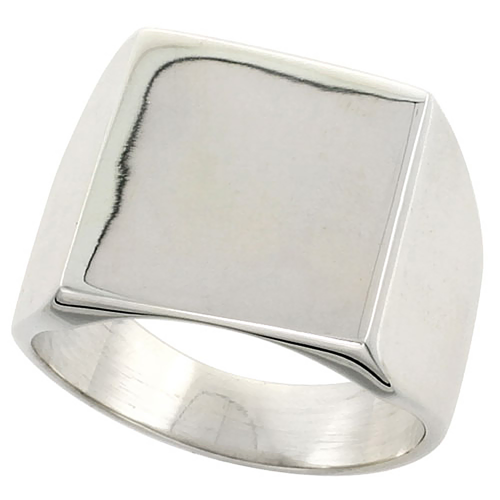 Sterling Silver Signet Ring for Men Large Square Solid Back Handmade 3/4 inch, sizes 6 - 13