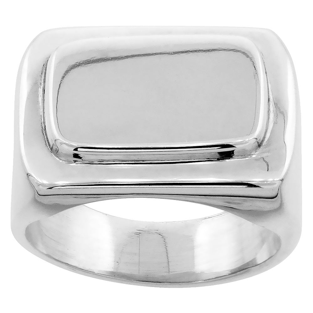 Sterling Silver Large Rectangular Signet Ring for Men Solid Back Handmade 7/16 inch, sizes 7 - 13
