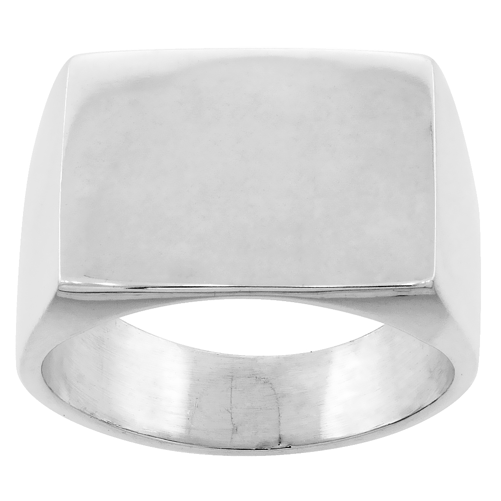 Sterling Silver Square Signet Ring for Men Solid Back Handmade 3/4 inch, sizes 9 - 13