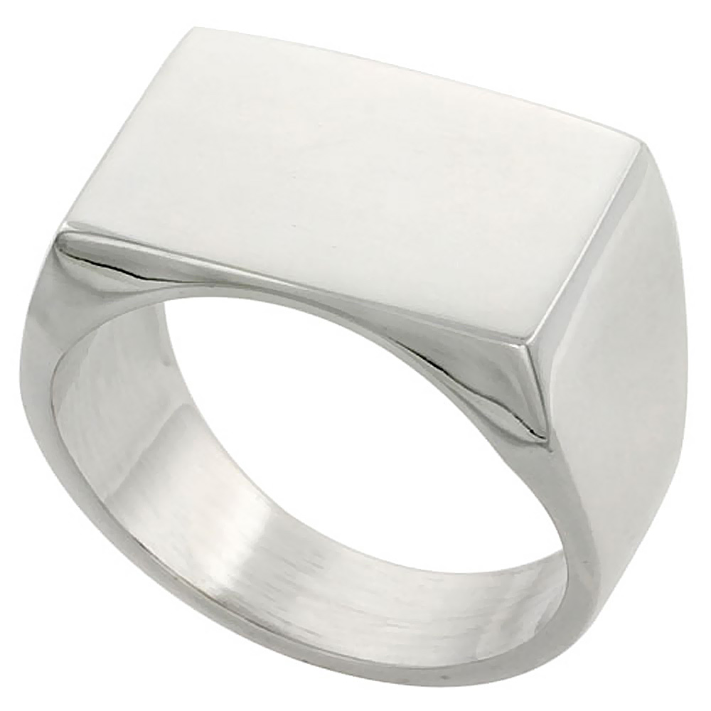 Sterling Silver Rectangular Signet Ring Solid Back Handmade 3/4 inch, sizes 9 - 13